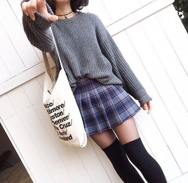shirt sweater grey knitwear cute skirt socks hair accessory bag