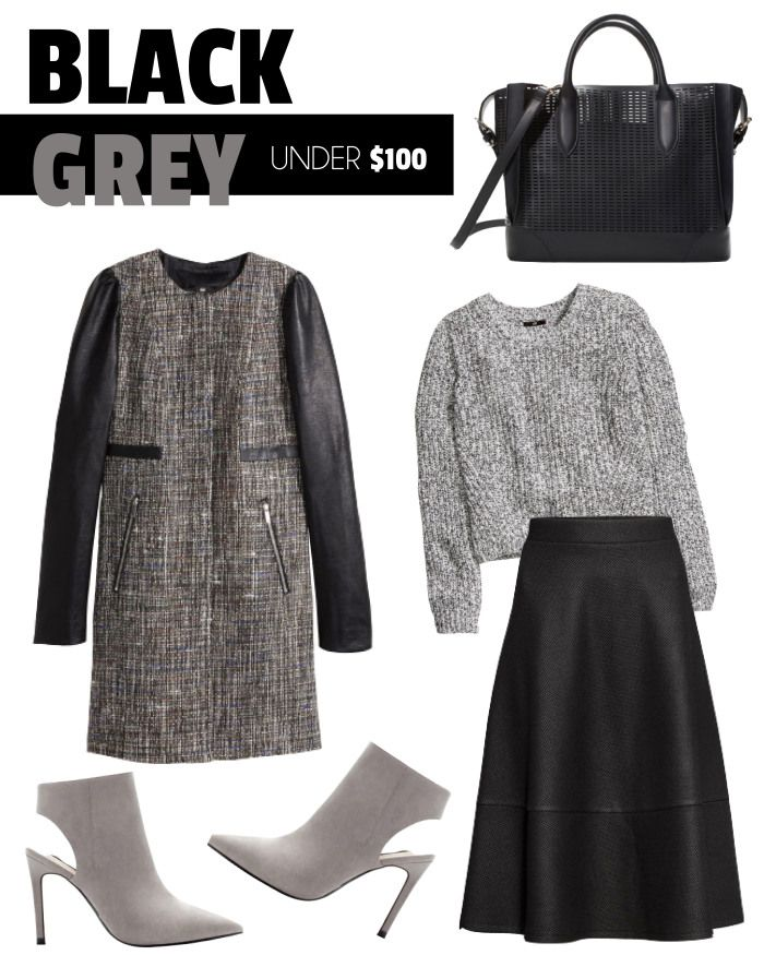Black & Grey, Under $100! www.fatfreefashion.com #black #grey #black&grey