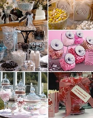 Different ideas for a candy station.
