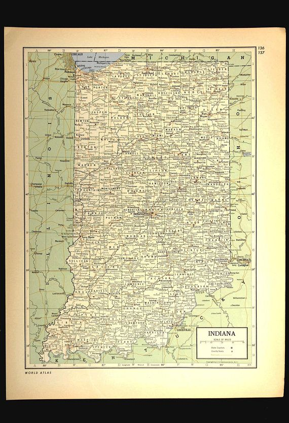 Indiana Map of Indiana Vintage Original 1940s Green White Gift Idea