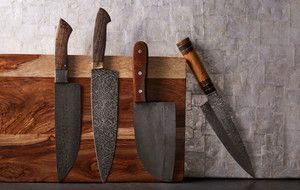 VKY Knife creates custom Damascus and tool steel blades in all the classic and vintage silhouettes that make collectors around the world drool. This collection of chef's knives is built from the most traditional materials, and to the most discerni...