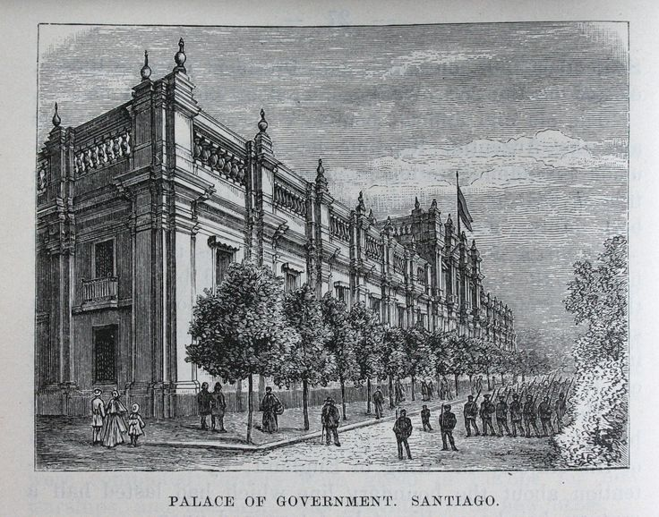 A 1901 illustration of the Moneda, the seat of government of Chile