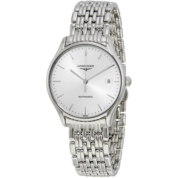 Longines Lyre Automatic Silver Dial Ladies Watch ($1,350) ❤ liked on Polyvore featuring jewelry, watches, stainless steel wrist watch, analog watches, water resistant watches, see through watches and transparent watches