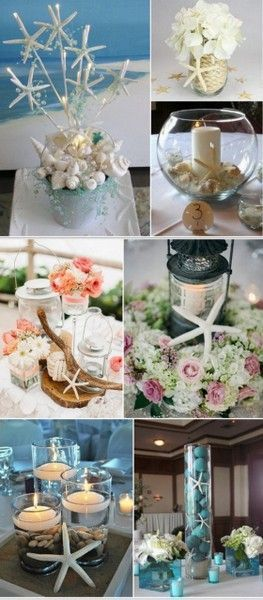 Starfish Themed Beach Wedding Centerpiece Ideas from http://HotRef.com #weddingcenterpiece