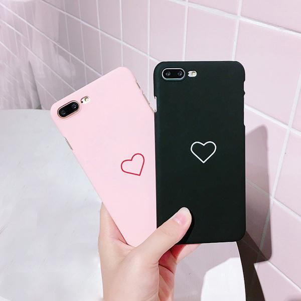 ddbca64ae21f0 Love Heart Pattern Back Scrub Case Cover Couple Phone Case for iPhone 7 7  Plus 6 6 Plus 6s 6s Plus