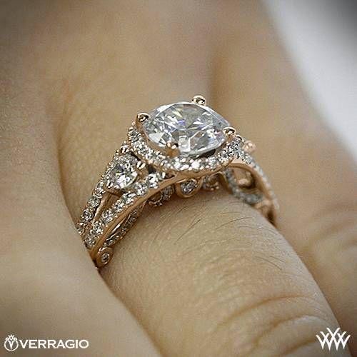 20k Rose Gold Verragio Domed Bead Set Diamond Engagement Ring