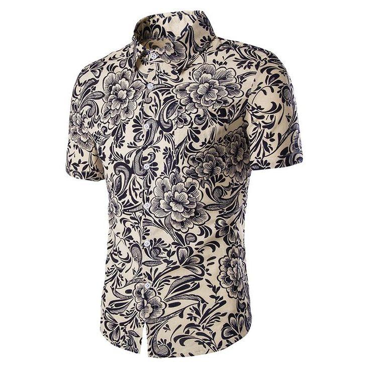 Men Brand New Short Sleeve Beach Shirt Casual Slim Fit 3D Print Hawaii Shirt