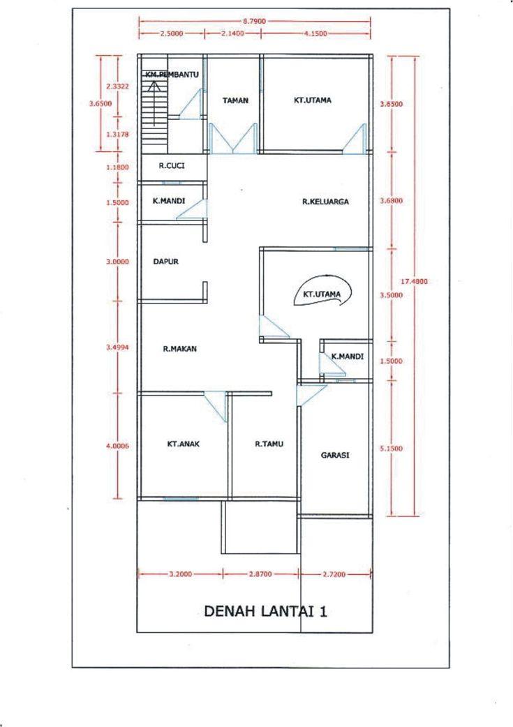 denah rumah 3 kamar 1 lantai tanpa garasi