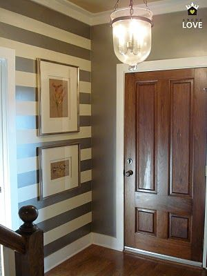 entrywayBathroom Design, Solid Wall, Lights Fixtures, Stripes Wall, Entry Ways, White Trim, Striped Walls, Accent Walls, Wood Doors