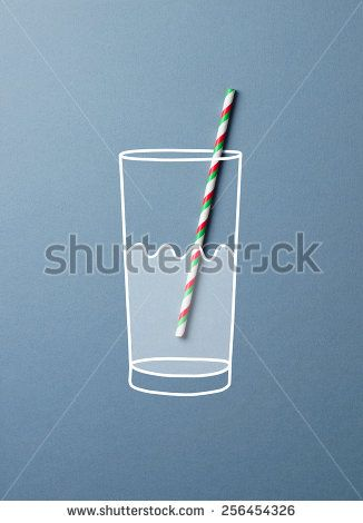 Glass of water with a colorful straw doodle concept. This image is a photograph with drawing over it