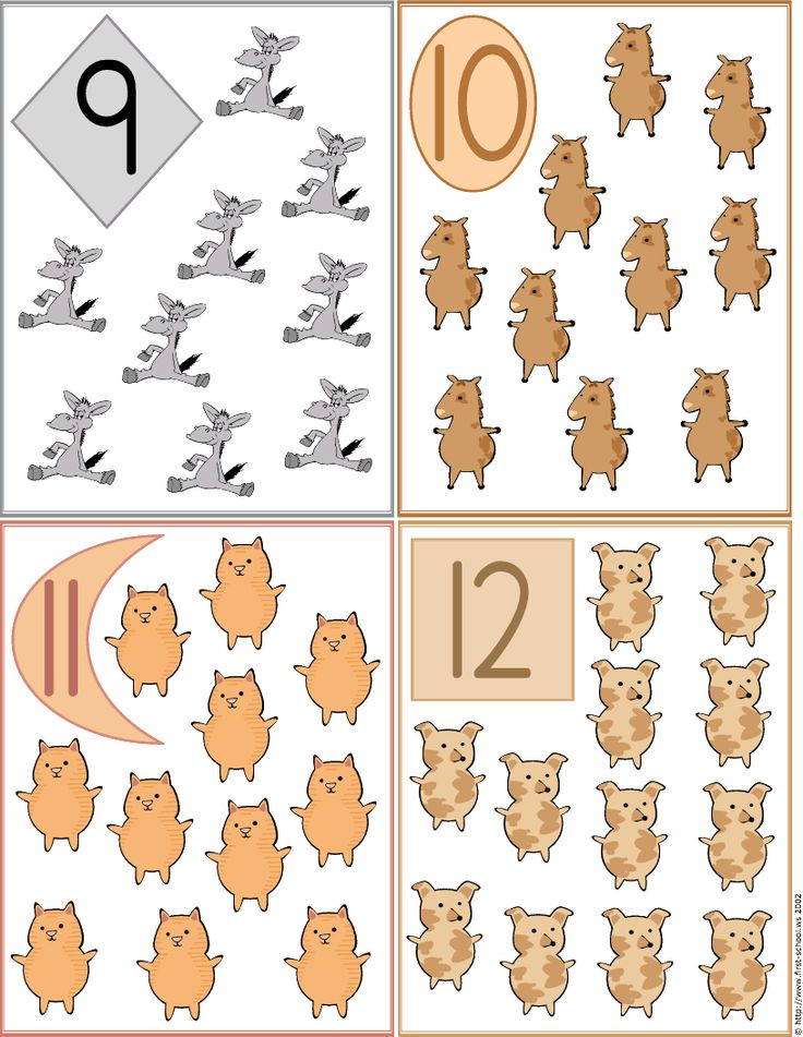 Farm Animals Numbers  Flash Cards 9 to 12