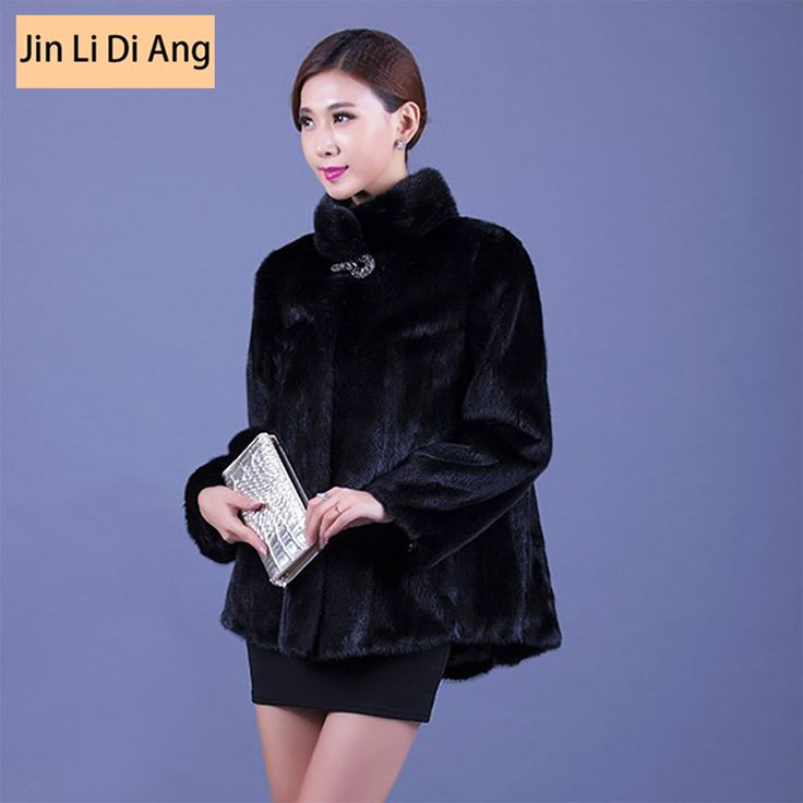 ==> [Free Shipping] Buy Best Jin Li Di Ang Women 65 cm Medium-Long Real Genuine Mink Fur Jacket Stand Collar Overcoat Black Thick Warm Full Sleeve Lady Coat Online with LOWEST Price | 32651475863