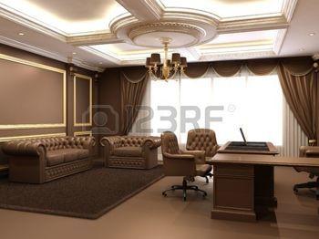 cielo raso: Oficina moderna en el espacio interior de madera real Foto de archivo