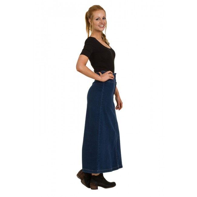 High Waist Long Denim Skirt #modestfashion