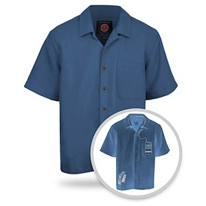 Camp Shirt for Gadget Freaks - hidden pockets and the Personal Area Network (PAN) system of holes and conduits so that your headphones stay right where you need them, untangled and not on display