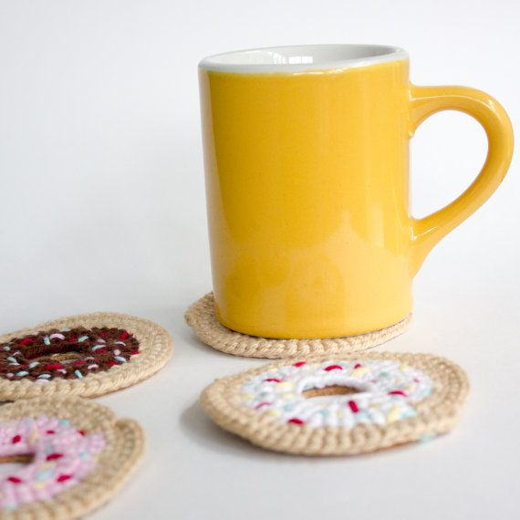 Crochet Donut Coaster Set Set of 4 handmade by whimsyloveswit