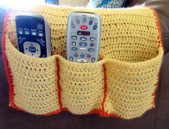 Crochet Remote Cozy, Armchair Caddy, Remote Control Holder, Sofa Organizer, Choose Your Colors, Customizable, Home Decor