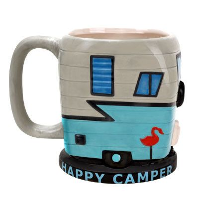 """What makes someone a """"happy camper""""? Wealth? Stability? No—it's hot, caffeinated, and comes in liquid form.Ceramic mug resembles a camper with windows, pink fl"""