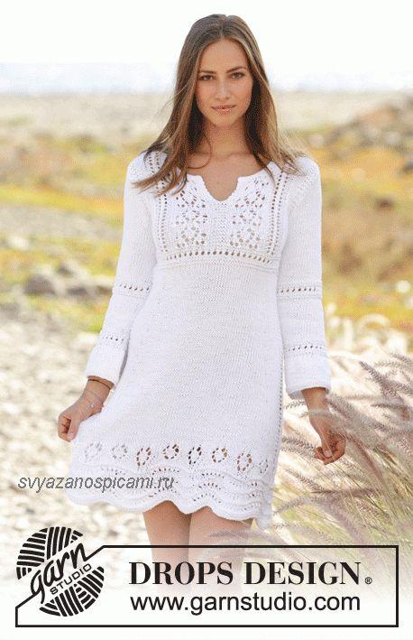 Летнее платье вязанное спицами