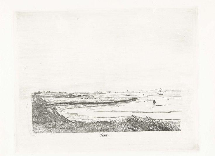 Pierre Louis Dubourcq | Texel, Pierre Louis Dubourcq, 1849 | Gezicht op een baai aan de kust van Texel met een wadloper. Aan de overkant van de baai een kudde schapen. Twee boten zijn gedurende de eb droog gevallen.