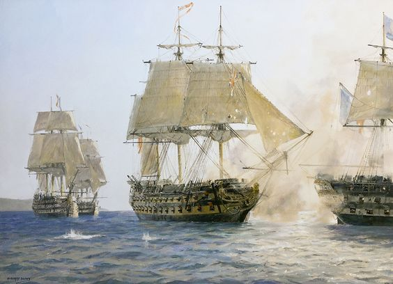 """Geoff Hunt Print - """"H.M.S. Sutherland's Last Battle"""" Captain Hotatio Hornblower in action with four enemy ships of the line off Rosas Hornblower was given command of HMS Sutherland, a Dutch-built 74 gun ship of the line, as a reward for his exploits aboard HMS Lydia. His first orders were to escort an East Indian convoy off the Spanish coast. He successfully defended the convoy from simultaneous attack by two faster, more manouverable privateers. -- on ScrimshawGallery.com #GeoffHunt"""