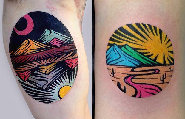 Os desenhos criados por Dusty Past são inspirados na xilogravura. O tatuador adiciona impressionantes cores intensas, que se tornaram sua marca registrada.