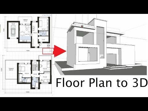 How To Import Floor Plan In Sketchup And Make 3d Model Of A Modern House Youtube Floor Plans