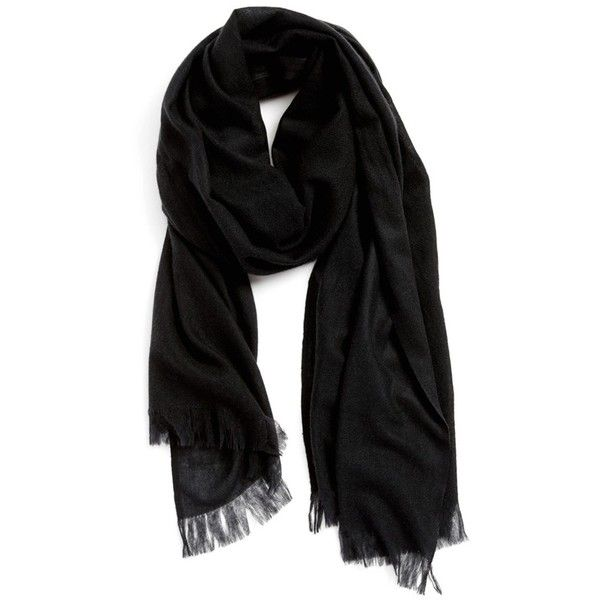 Nordstrom Heathered Cashmere Gauze Scarf ($148) ❤ liked on Polyvore featuring accessories, scarves, black, cashmere shawl, black shawl, gauze scarves, fringe scarves and black scarves