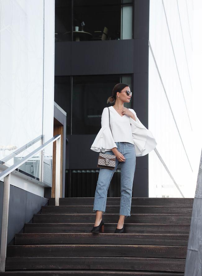 Johanna P. Bell Sleeves - Eight Slate top, Mum Jeans