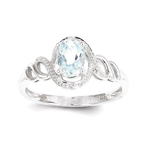 10ct White Gold Natural Aquamarine & Diamond Womens Modern Ring