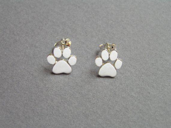 Paw impresión pendientes - pendientes Plata - gatos y perros Paws - joyería de…