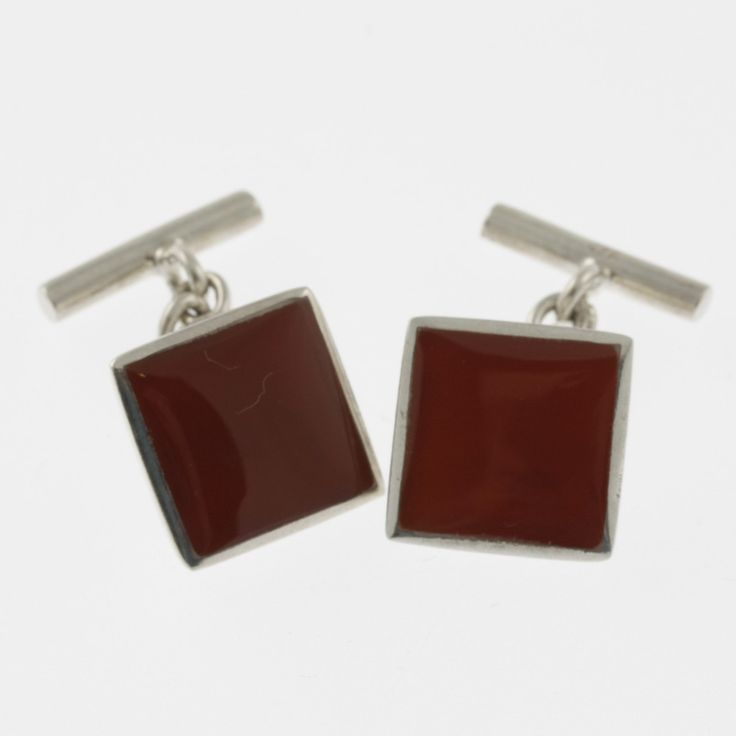 Carnelian and sterling silver square cufflinks by Sky with Diamonds | Sky with Diamonds