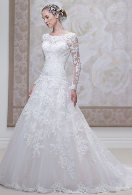 Brides: James Clifford Collection. Lace and tulle ball gown with scalloped lace sheer curved bateau neckline and long sleeves. Sweetheart bodice with dropped waistline, deep plunging scalloped back bodice finished with covered buttons, full skirt with scalloped hemline and chapel length train.