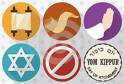 Banner in flat style and long shadow with colorful icons to celebrate Yom Kippur -or Day of Atonement, written in Hebrew-: sacred scrolls, shofar horn, hands praying, David`s star, forbidden symbol for abstinence, all over in a starry background.
