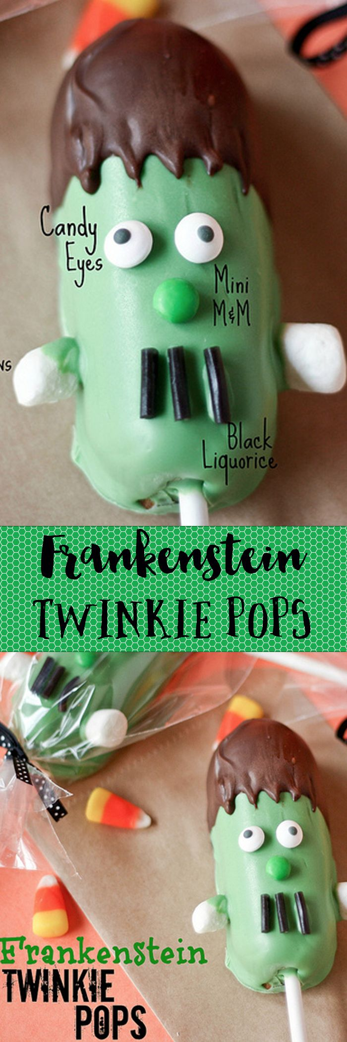 FRANKENSTEIN TWINKIE POPS!! Such a fun treat for Halloween. Perfect for bringing to class/giving to neighbors.