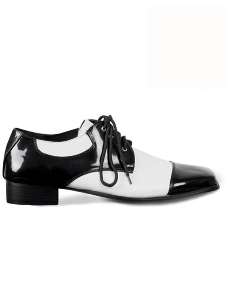 Zapatos de gánster hombre: Estos zapatos de gánster elegantes son de imitación vinilo blanco y negro.Con estos zapatos podrás completar tus disfraces de gánster retro años 20.