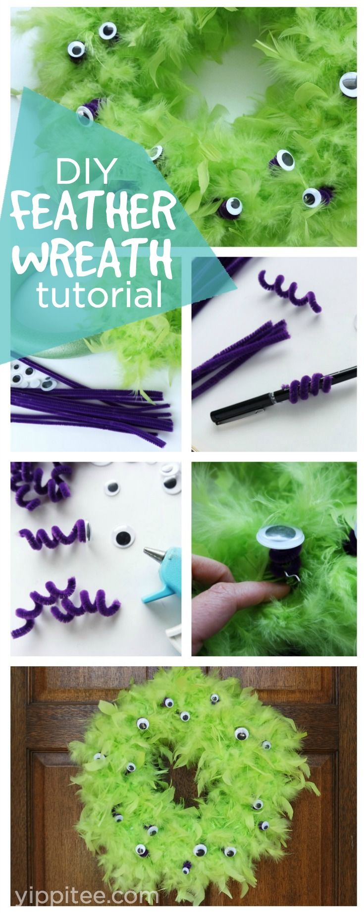 DIY Halloween Wreath Using Feather Boas and Googly Eyes - super easy monster party decor idea