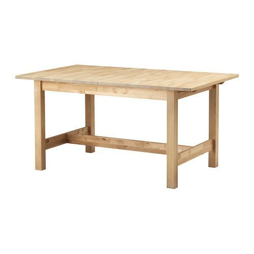 "ORDEN Extendable table, birch $299.00 Article Number: 402.425.92 Extendable dining table with 1 extra leaf seats 4-6; makes it possible to adjust the table size according to need. Read more  Product dimensions Length: 61 "" Max. length: 82 5/8 "" Width: 35 3/8 "" Height: 29 1/8 """