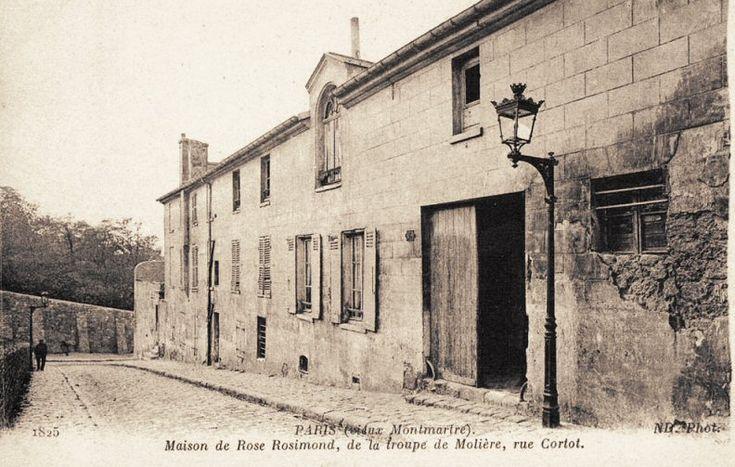 rue Cortot - Paris 18ème MAISON de la TROUPE de MOLIERE au XVIIè siècle La maison de Rose Rosimond, de la troupe de Molière, rue Cortot, vers 1900.