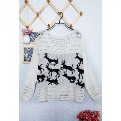$11.62 Sweet Scoop Neck Fawn Print Openwork Design Long Sleeve Plus Size Christmas Sweater For Women
