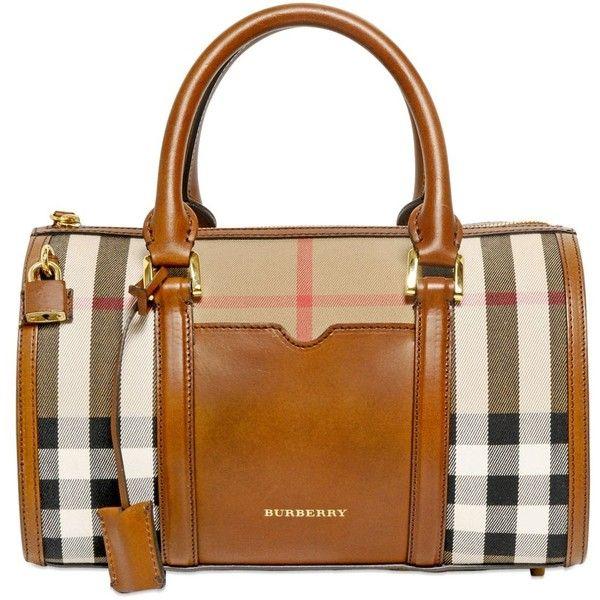 BURBERRY Medium Alchester Bridle House Check Bag found on Polyvore