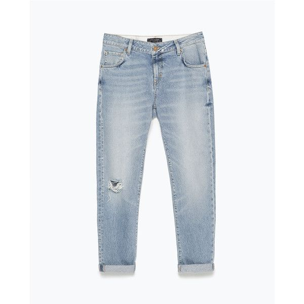 Zara Ripped Boyfriend Jeans ($20) ❤ liked on Polyvore featuring jeans, pants, light blue, destroyed jeans, torn boyfriend jeans, light blue jeans, distressed jeans and ripped jeans