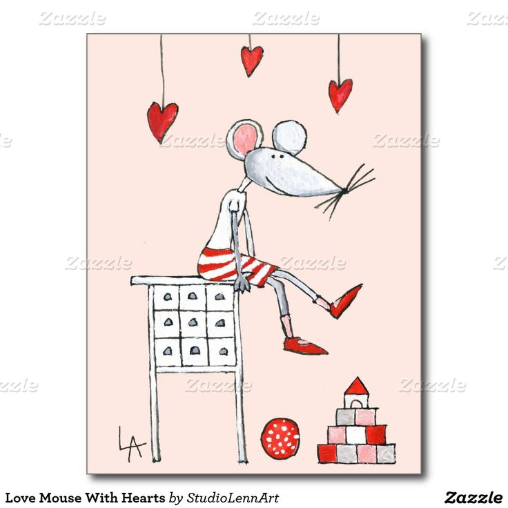 Love Mouse With Hearts Postcard