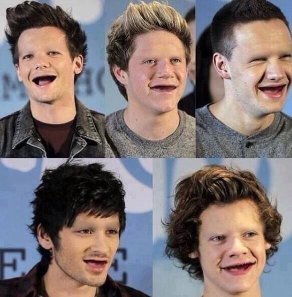 One Direction without teeth and eyebrows i y\thought they could not get any uglier i stand corrected