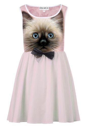cute as a button kitten face bow dress