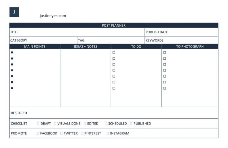 Jak zaplanować posty na bloga? justineyes.com #planowaniepostow #blog #post #content #planner #template