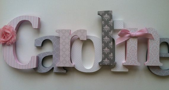 Nursery+wooden++wall+letters+in+pink+and+gray+by+SummerOlivias,+$16.00