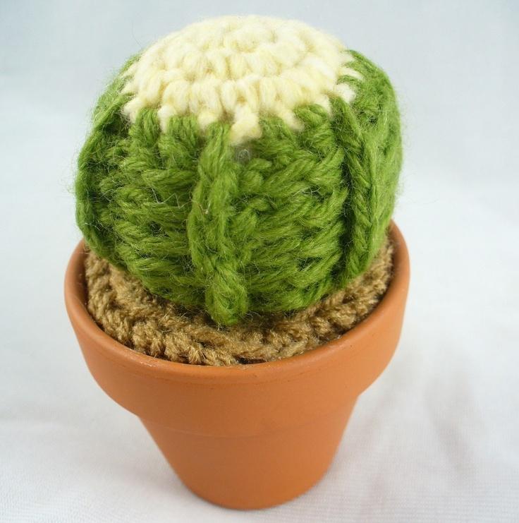 Golden Barrel Crochet Cactus