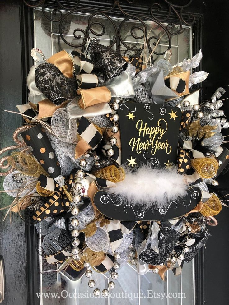 New Year's Wreath, New Year's Eve Party Decoration, Front ...