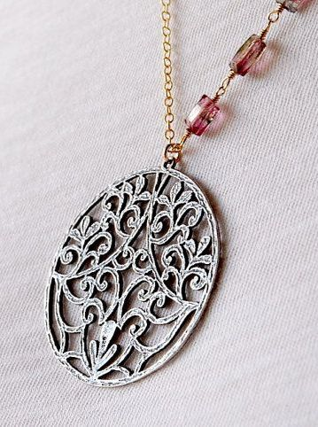 Ornate sterling silver disc necklace watermelon